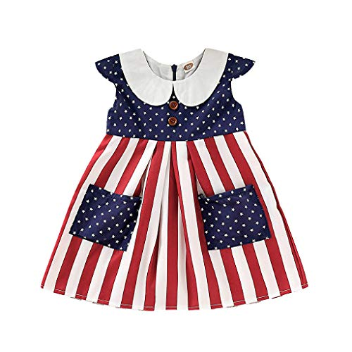 RoDeke July 4Th American Flag Striped Doll Collar Stars Print Patriotic Sleeveless Bodysuit/Dress for Baby Girls ()
