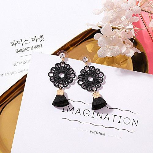 w pattern flowers round diamond earrings earings dangler eardrop personalized creative fabric women girls fan (j4413 black ()