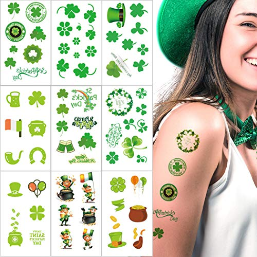 Kevinart St. Patrick's Day Temporary Tattoos Green Shamrock Clover Hat Irish Decor Tattoo Stickers for Kids Women Man St Patricks Day Party Decorations Parade Supplies