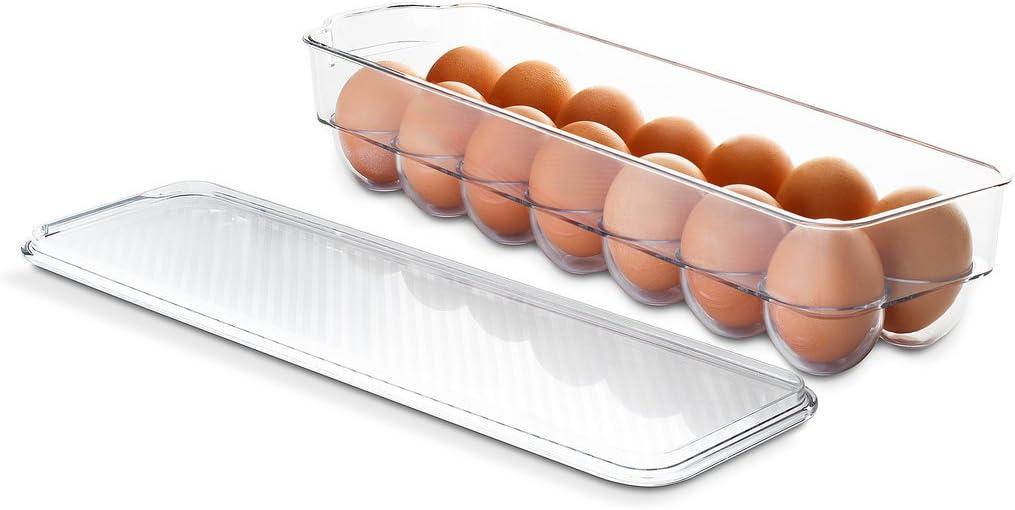 Saganizer egg holder for refrigerator or camping Clear acrylic egg storage