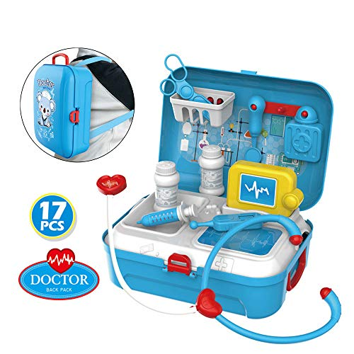 SGYH Pretend Play Toy Set, 17PCS Medical Kit Doctor Nurse Dentist Playset Children Role Party Favor Supplies Pretend Play Educational Toys Gifts for Kids Girls 3 Years Old and up (Blue) from SGYH