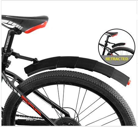 fjqxz Stretchable Bike Fender Bicycle Fender with Taillight Mud Guarder for Mountain Bike Cycling Bicycle Black