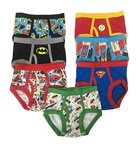 Superman Batman Green Lantern Flash Justice League DC Boys Power Pack 100% Cotton 7 Pack Pack of Briefs Underwear (Multi - Power Pack, 2T/3T)