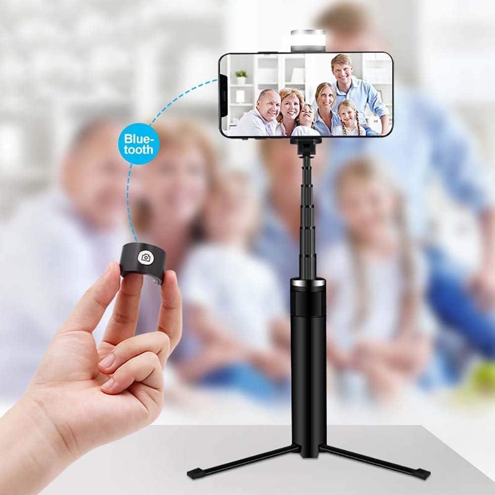 Misszhang-US Portable Wireless Bluetooth Remote Shutter Selfie Stick Phone Holder Tripod Black+Silver