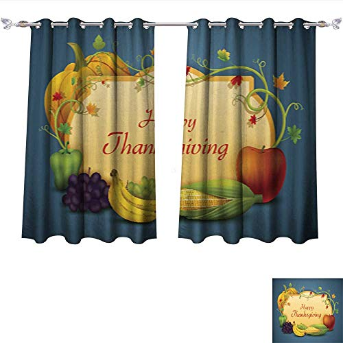 Weave Wallpaper Linen - Linen Blackout Curtains Happy Thanksgiving Wallpaper background6 Insulated Room Darkening Curtains W55 x L63/Pair
