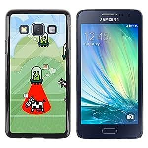 LECELL--Funda protectora / Cubierta / Piel For Samsung Galaxy A3 SM-A300 -- Cow Abduction Funny Cartoon Conspiracy --