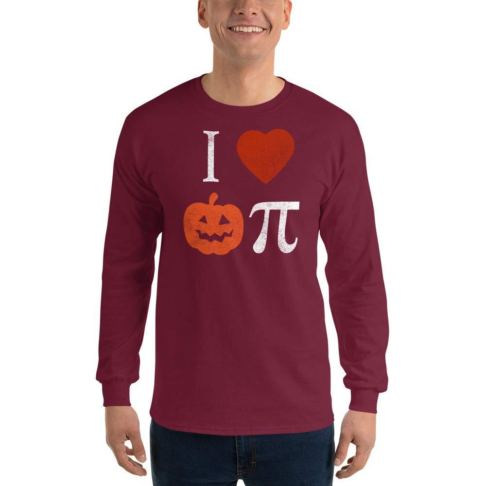 Halloween I Love Pumpkin Pi Mens Long Sleeve T-Shirt Womens Science Math Pie Tee