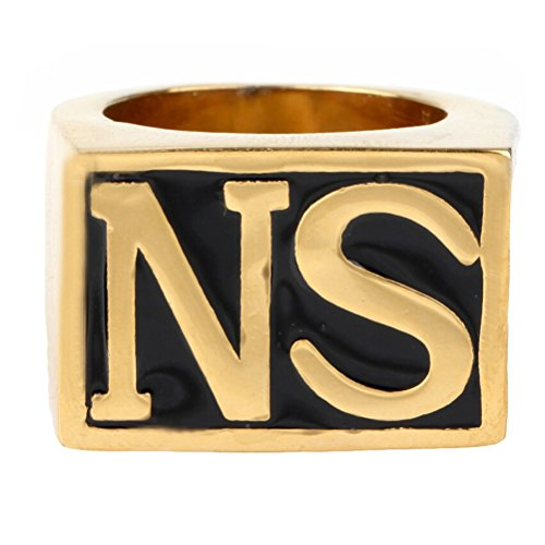OAKKY Jewelry Men's Stainless Steel Biker Rings, NS, Vintage, Gold and Black, Size 9 ()
