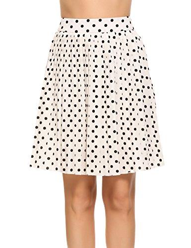 Zeagoo Women's Retro High Waist A Line Chiffon Polka Dot Pleated Midi Skirt Raw White Off White X-Large