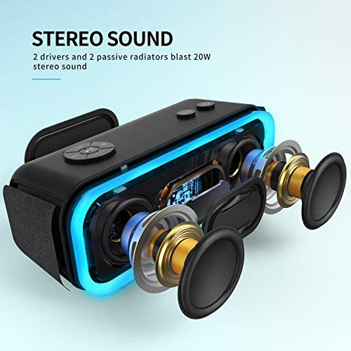 Bluetooth Speakers, DOSS SoundBox Pro Portable Wireless Bluetooth Speaker with 20W Stereo Sound, Active Extra Bass, Wireless Stereo Pairing, Multiple Colors Lights, IPX5, 20 Hrs Battery Life -Black 51GNT1 2Bvt9L