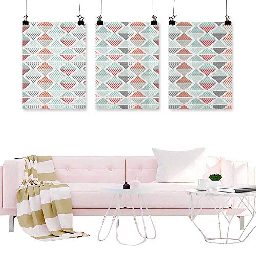 J Chief Sky Geometric,Canvas Art Triptych Harlequin Pattern with Small Crosses in Pastel Colors Contemporary Mosaic Design Hanging Wall Decoration Abstract Painting W16 x L32 ()
