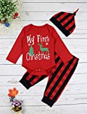 Baby Christmas Outfit Newborn Boys My First Christmas Deer&Tree Print Top + Long Pants Clothes Costume