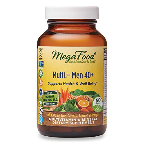 MegaFood, Multi for Men 40+, Supports Optimal Health and Wellbeing, Multivitamin and Mineral Supplement, Gluten Free, Vegetarian, 60 tablets (30 servings)