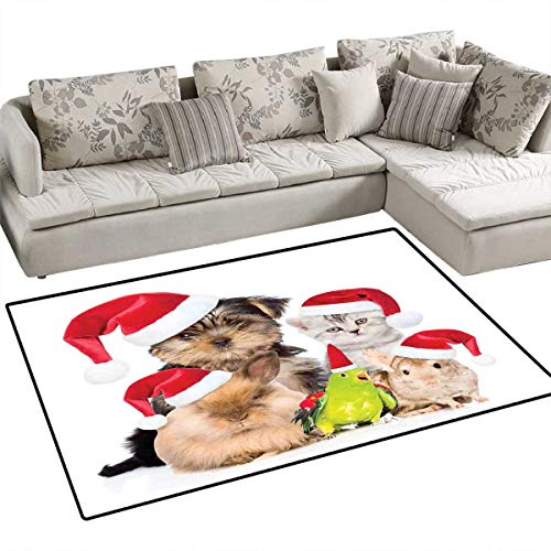 """Price comparison product image Christmas Floor Mat for Kids Xmas Crew Cat Dog Bird Mouse and Rabbit Bunny with Santa Hats Grumpy Pets Picture Bath Mat Non Slip 55""""x63"""" Multi"""
