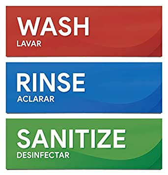 image regarding Wash Rinse Sanitize Printable Signs titled Clean Rinse and Sanitize Sink Labels Sticker Symptoms for Dining places, Kitchens, Food stuff Vehicles, Bussing Stations, Dishwashing (3 8 1/2\