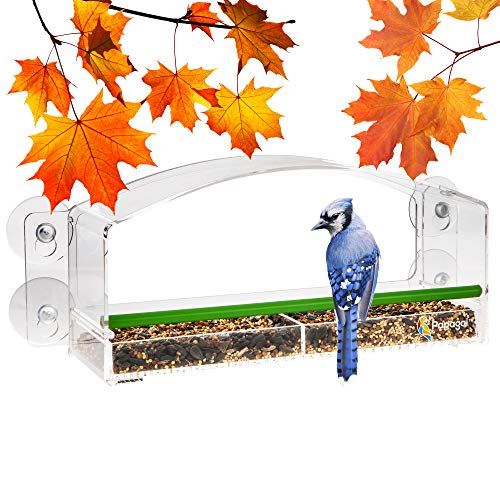 Papagai Window Bird Feeder with Perch for Outside Window, Clear, Squirrel Proof - Decorative House Birdseed Feeders with Slide-Out Tray, 2 Compartments for Food and Seeds - for Outdoors, Patio, Porch
