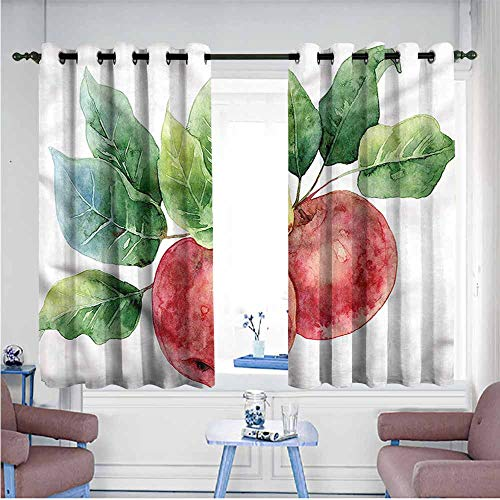 VIVIDX Grommet Curtains,Apple,Green Leaves and Fruits,Insulated with Grommet Curtains for Bedroom,W63x72L