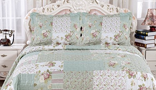 English Roses Quilt set, Cotton rich,prewashed, preshrunk.As bedspread, bedcover,coverlet, bed throw -