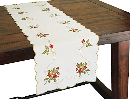 Xia Home Fashions Holly Berry Embroidered Collection Christmas Table Runner, 15 by 72-Inch