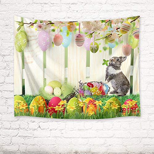 HVEST Easter Tapestry Rabbit and Colorful Eggs in Garden