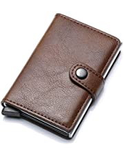 Munixi Credit Card Holder Leather Slim Wallet RFID Blocking Pop Up Aluminum Card Case High Capacity Credit Cards Wallet (Brown (Double Box))
