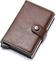 Munixi Credit Card Holder Leather Slim Wallet RFID Blocking Pop Up Aluminum Card Case High Capacity Credit Cards Wallet...