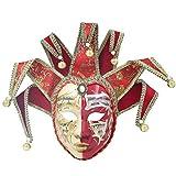Hophen Red Volto Resin Music Venetian Jester Mask Full Face Masquerade Bell Joker Wall Decorative Art Collection