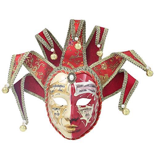 Hophen Red Volto Resin Music Venetian Jester Mask Full Face Masquerade Bell Joker Wall Decorative Art Collection -