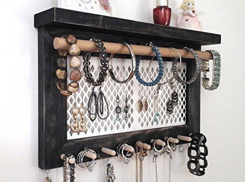 Jewelry Organizer Wall Mount Jewelry Holder, Necklace Holder, Earring Holder, Bracelet Holder, Ring Holder. All in One Wall Hanging Jewelry Organizer. Unique One of a Kind! Ebony Wood.