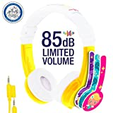 Kids Headphones by Onanoff, Explore Model: In Line Mic, Detachable Cable – 2 Pack - Pink, Yellow – volume limiting lock – housing adjustable – built in headphone splitter – super durable – for iPad, computer, tablet, smartphone, and other devices