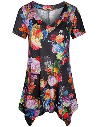 Miusey Irregular Hem Tunic Youth Ladies Vneck Short Sleeve Flowy Front Pleat Asymmetrical Leggings Printed Floral Vintage Party Tunics for Women Black XL