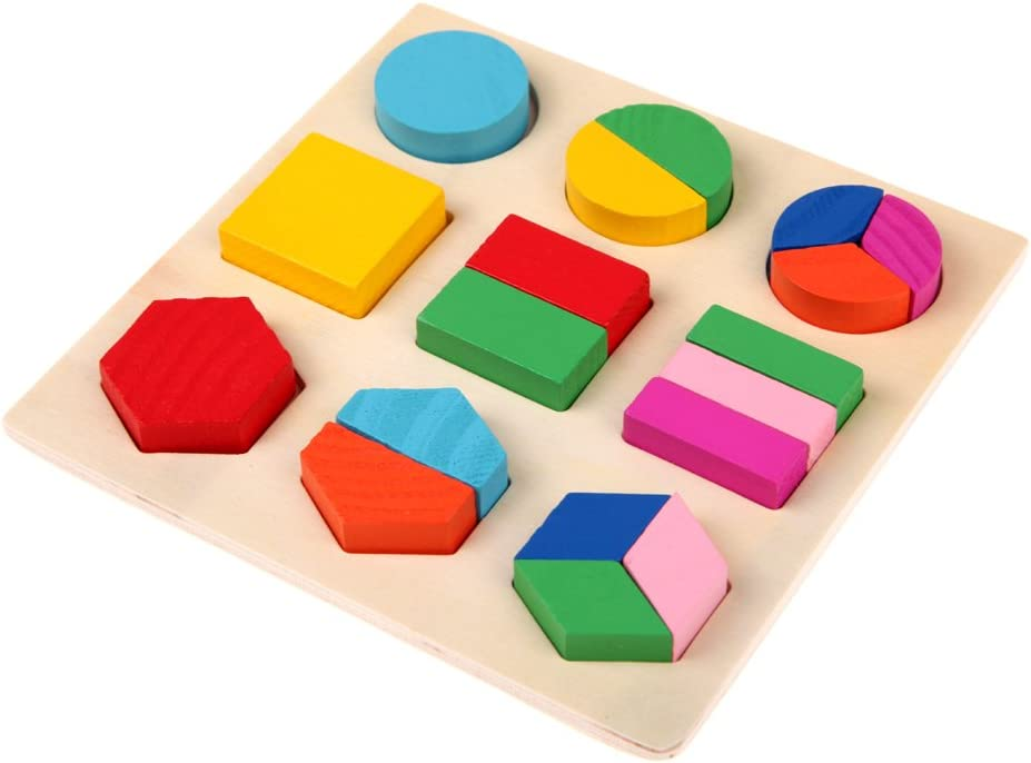 Highplus Wooden fraction shape puzzle toy for Montessori early learning A54