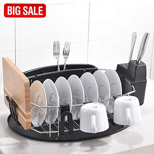 SOTTAE Modern Steel Rust Proof Kitchen Dish Rack with DrainB