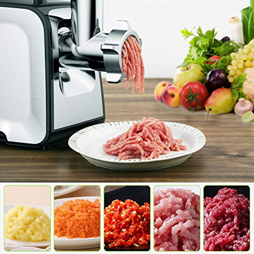 Electric Meat Grinder, ALTRA Meat Mincer & Sausage Stuffer,【2000W Max】【Concealed Storage Box】 Sausage & Kubbe Kit Included, 3 Grinding Plates, 2 Blades, Home Kitchen & Commercial Use
