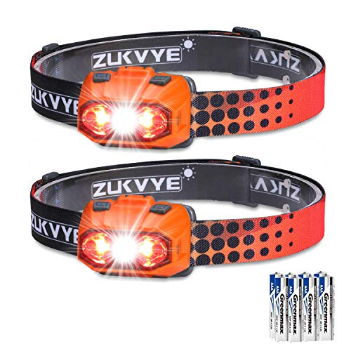 Zukvye Dimmable Headlamp, Ultra Bright 230 Lumen White & Red LED Headlamps, Waterproof Head Light for Running, Camping, Kids, DIY & More - 3 AAA batteries included