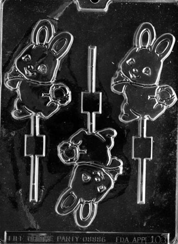Cybrtrayd Life of the Party E108 Cute Bunny with Basket Easter Chocolate Candy Mold in Sealed Protective Poly Bag Imprinted with Copyrighted Cybrtrayd Molding Instructions -