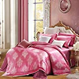 L&M Silk pieces of four sets Mulberry silk bed linings Silk sheets Quilt cover 1.5 m bed 1.8 m bed , pink , 1.8m