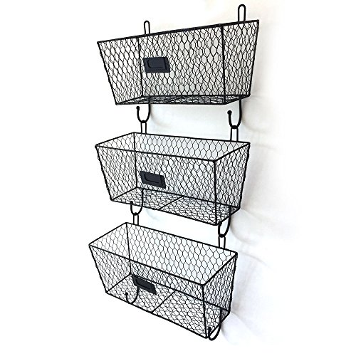 - SAILSWORD 3pcs Wall Mounted Metal Market Basket Fruit Bread Storage Basket Rack
