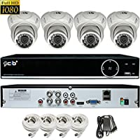 CIB True Full HD 4CH 1080P 1920TVL Recording and Display DVR system with 1TB HDD and 4x2.1Megapixel Vandal Dome Cameras Network Remote Viewing -- H80P04K1T03W-4KIT-W