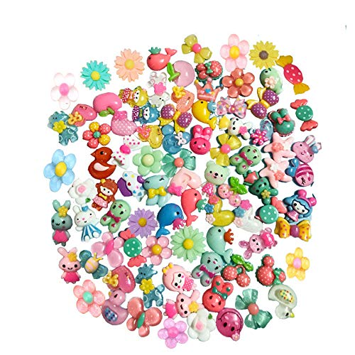 Mlambor 40 pcs Slime Charms Mix Lots 3D Candy Flower Bow Crown Fruit Animal Flatback Resin Slime Beads Supplies for DIY Scrapbooking Embellishments, DIY Hair Clip Headband Phonecover Craft Accessory -