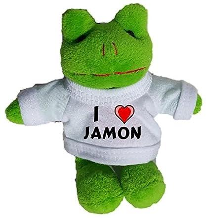 Rana de peluche (llavero) con Amo Jamon en la camiseta ...
