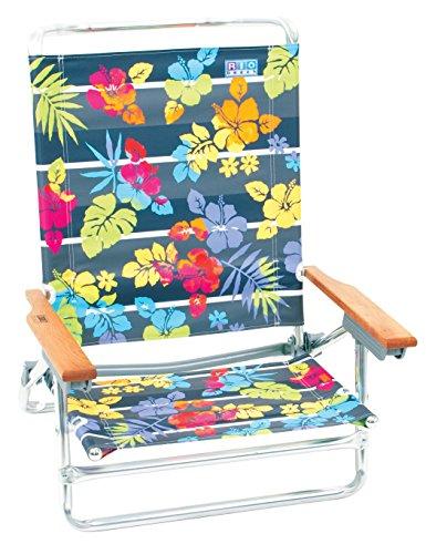 Rio Brands More Than A Strip 5 Position Classic Lay Flat Beach Chair, Gray