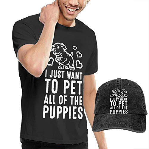 Casual Men's T Shirt and Caps Combination Black for Home I Just Want to Pet All of The Puppies