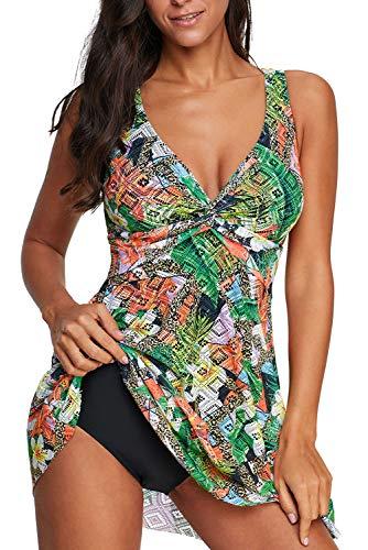momolove Women's One-Piece Swim Dresses Printed V Neck Swimsuit Modest Skirted Swimwear Green M