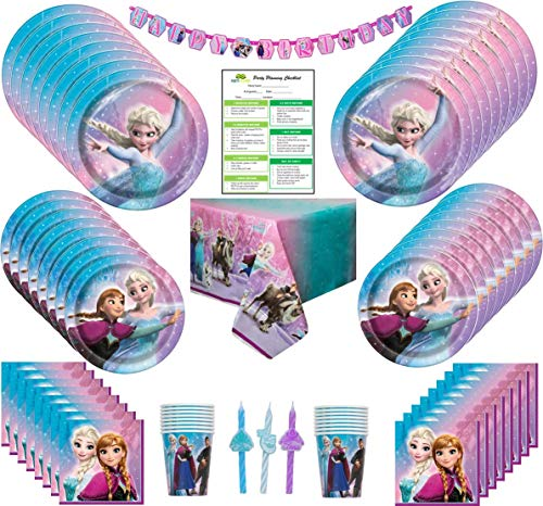 Disney Frozen Birthday Party Supplies Pack: Big/Small Plates, Cups, Napkins, Table Cover, Banner, Candles - 16 Guests -