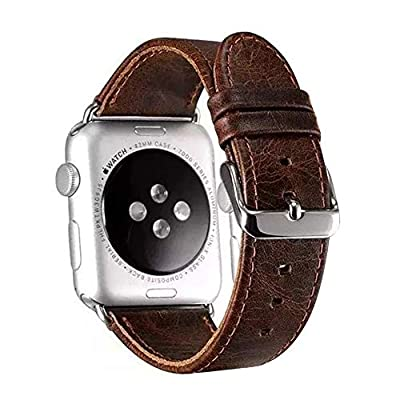 Retro Crazy Horse Genuine Leather Wrist Strap for Apple Watch Band iWatch 1 2 3 Stainless Steel Adapters Replacement Watchband (Dark Brown) by Nice Pies