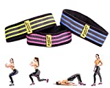 Athlete Basics 3-Piece Fabric Hip Bands - Slingshot Band to Maximize Workout, CrossFit, Yoga & More - Hip Circle Resistance Bands