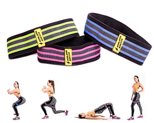 Athlete Basics 3-Piece Fabric Hip Bands - Slingshot Band to Maximize Workout, CrossFit, Yoga & More - Hip Circle Resistance Bands by Athlete Basics
