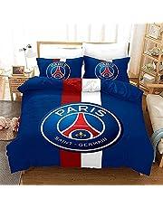 HJSM Paris Saint Germain, PSG beddengoed, dekbedovertrek, microvezel, polyester, omkeerbaar, dekbedovertrek (B,135 x 200 cm + 50 x 75 cm)