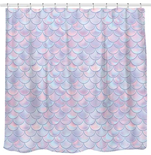 3D Mermaid Scales Shower Curtain Lilac Purple Pink Blue Ocean Theme Bathroom for Girls Bedroom Wall Decortation as Tapestry and Photo Booth - Curtain Shower Purple For Girls